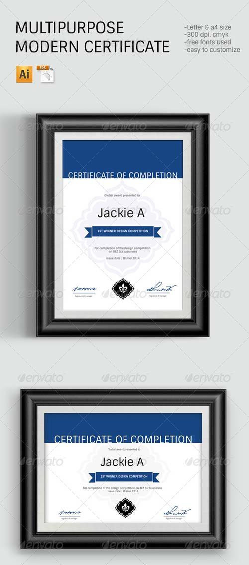 GraphicRiver Modern & Clean Certificate Template