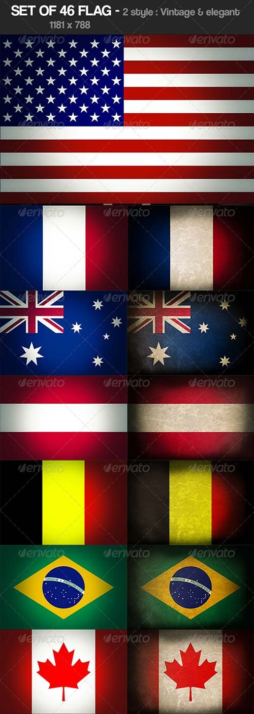 GraphicRiver Set of 46 Flag vintage & Elegant