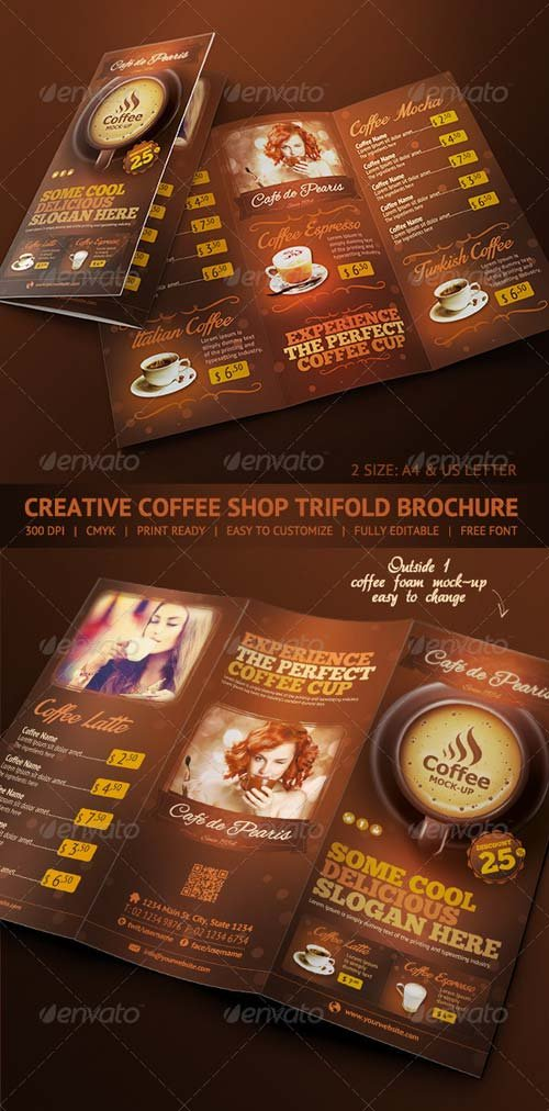 GraphicRiver Trifold Brochure - Coffee Menu