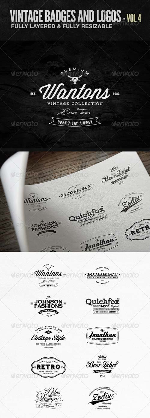 GraphicRiver Vintage Badges and Logos Vol 4