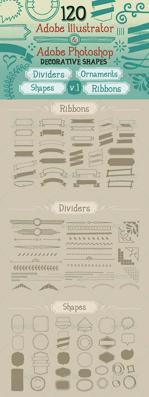 GraphicRiver 120 Handwritten Decorative Shapes 01