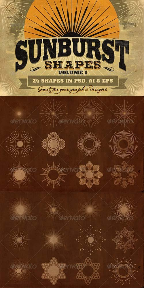 GraphicRiver Sunbursts Shapes Vol.1