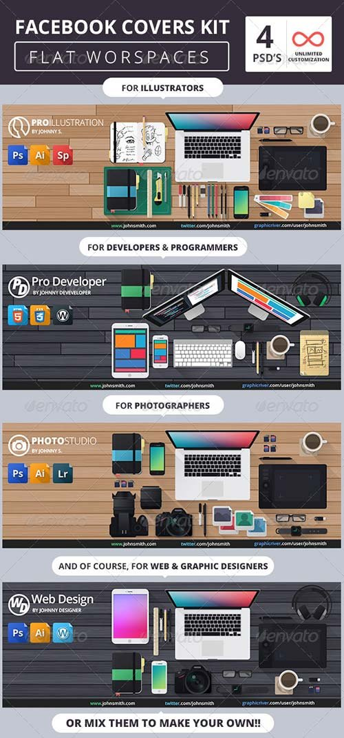 GraphicRiver Facebook Covers Kit - Flat Workspaces