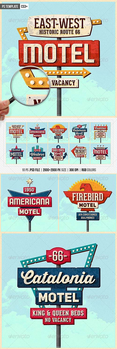GraphicRiver Vintage Motel Sign Pack