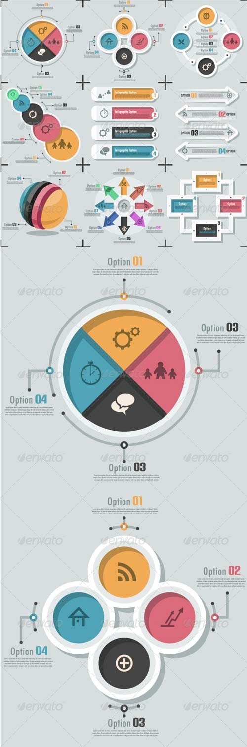 GraphicRiver Set Of 9 Flat Infographic Options Templates