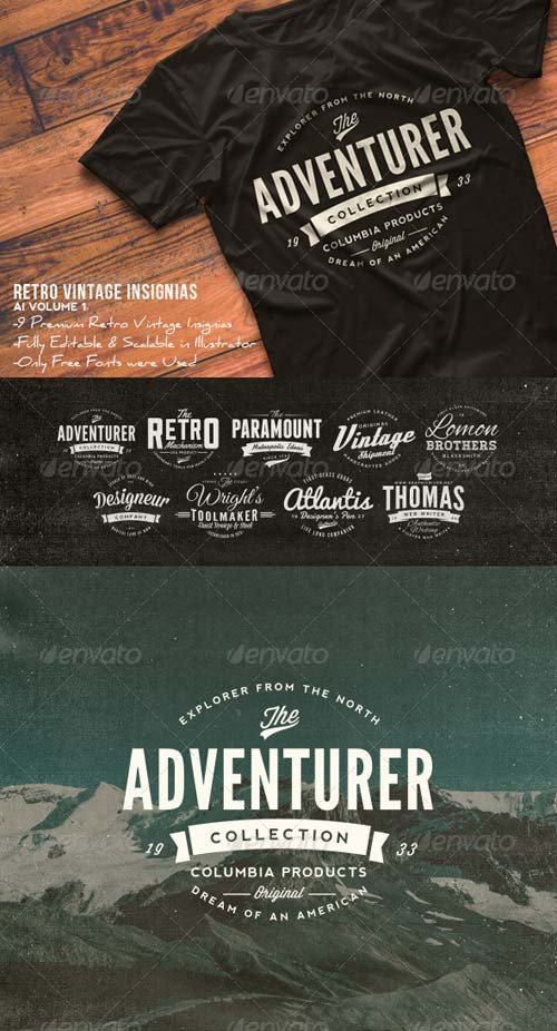 GraphicRiver Retro Vintage Insignias AI Volume 1