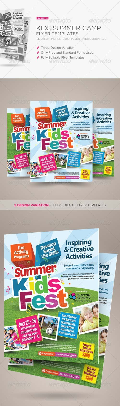 GraphicRiver Kids Summer Camp Flyers