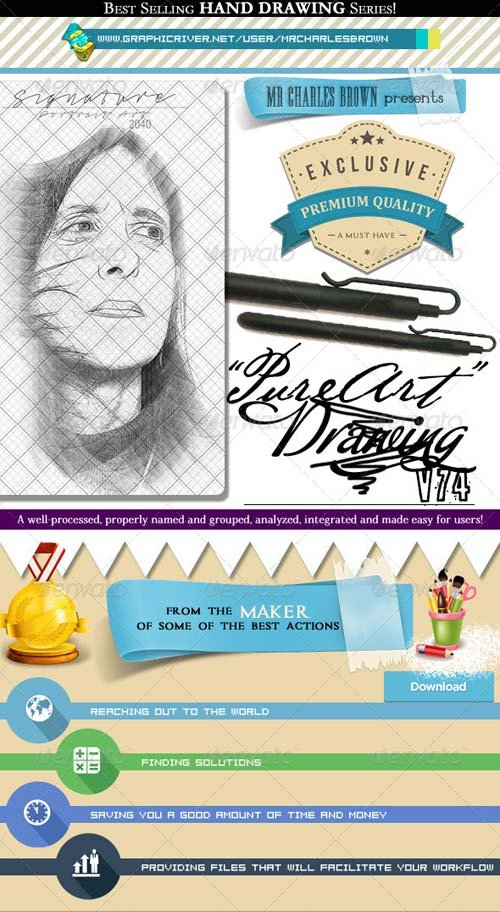 GraphicRiver Pure Art Hand Drawing 74 - Portrait Art Drawing 1