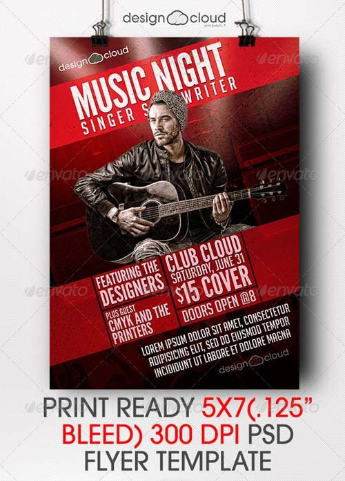 GraphicRiver Singer, Songwriter Music Night Flyer Template