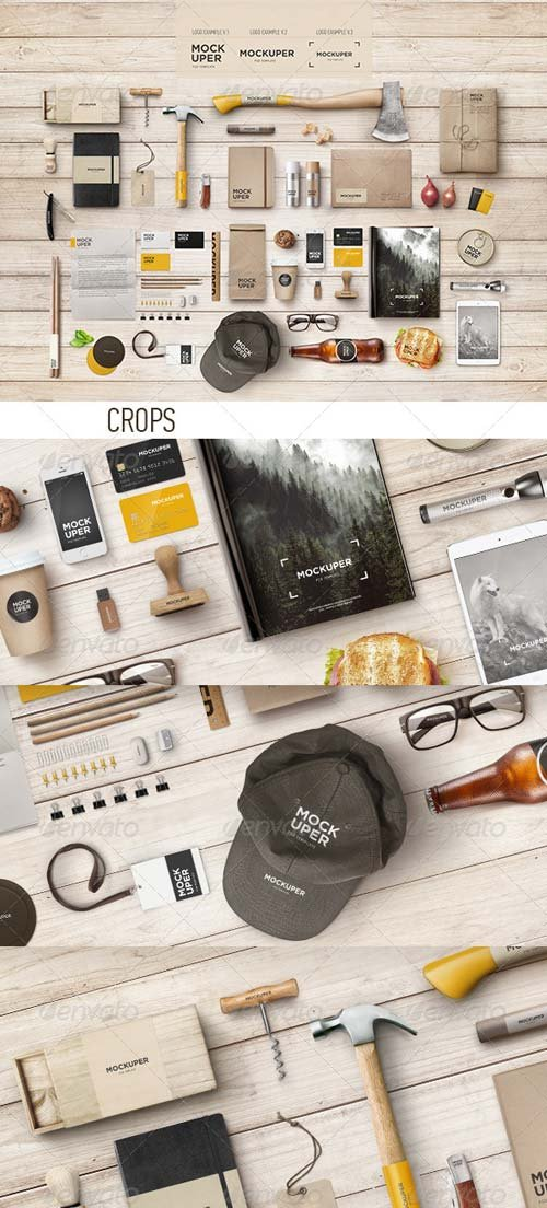 GraphicRiver Brutal Wood Branding Mock-Up (PSD)
