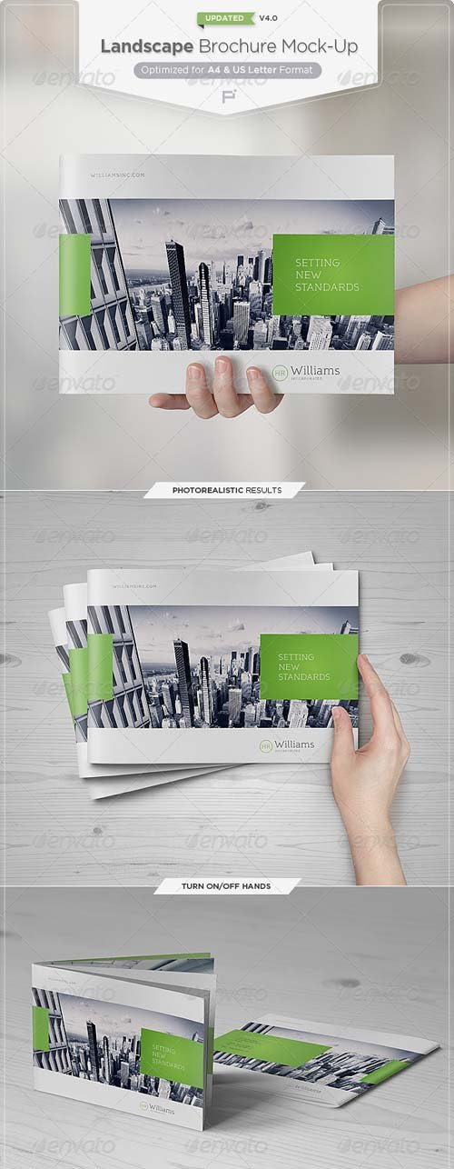 GraphicRiver Landscape Brochure Mock-Up Set 3931284