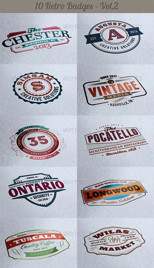 GraphicRiver 10 Retro Signs or Badges v.2