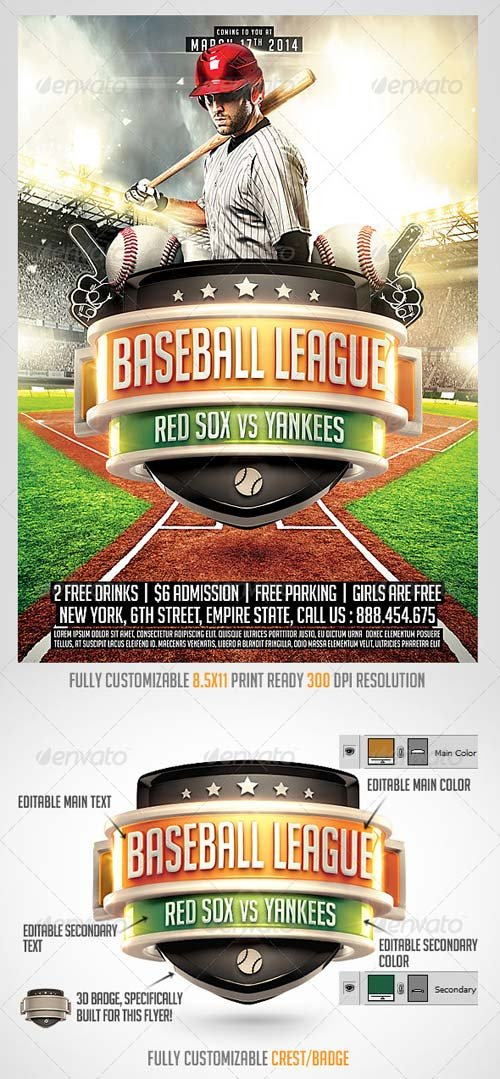 Flyer Templates  Graphicriver Baseball League Flyer Template