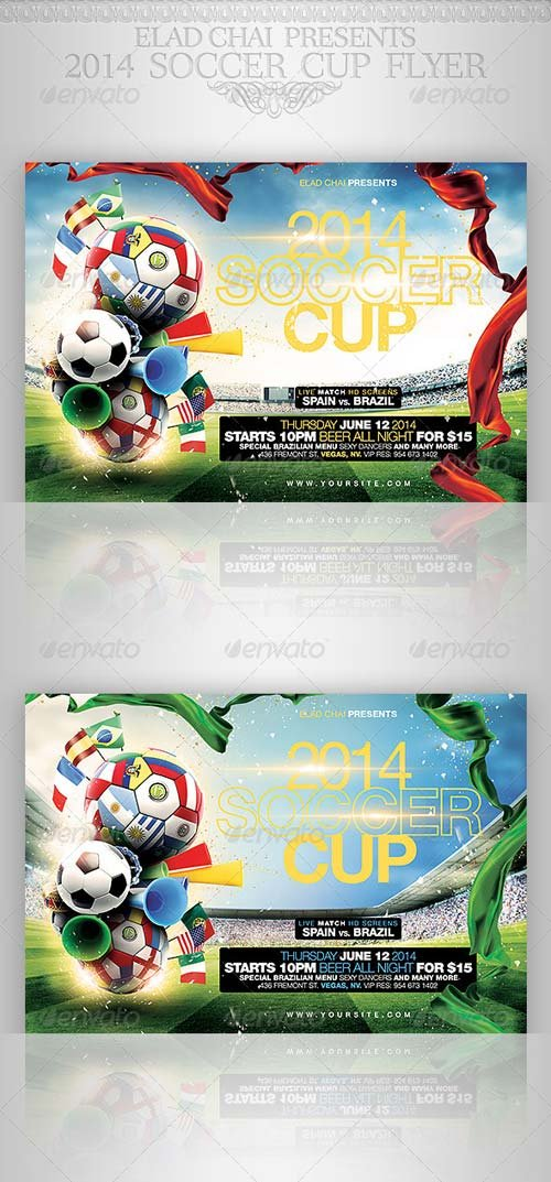 GraphicRiver Brazil 2014 Soccer Football Cup Flyer Template
