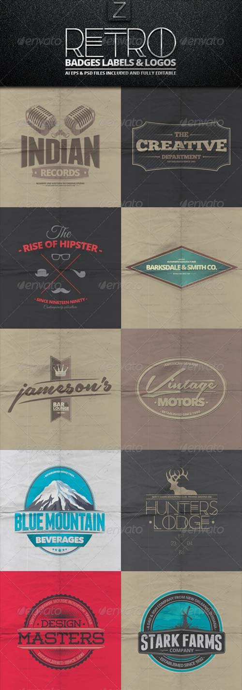GraphicRiver Retro Badges, Labels & Logos