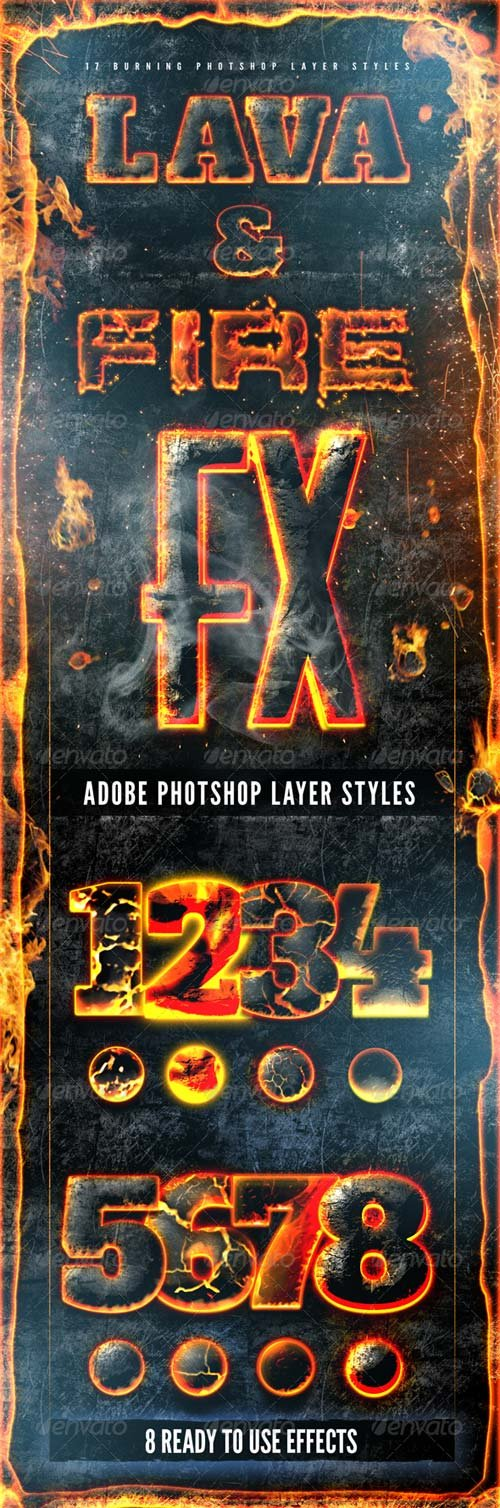 GraphicRiver Hot Lava and Fire Layer Styles Pack Fx