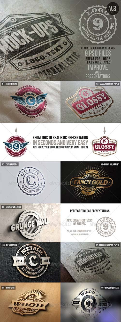 GraphicRiver Photorealistic Logo Mock-Ups Vol.3