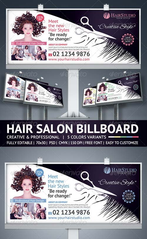 GraphicRiver Hair Salon Billboard