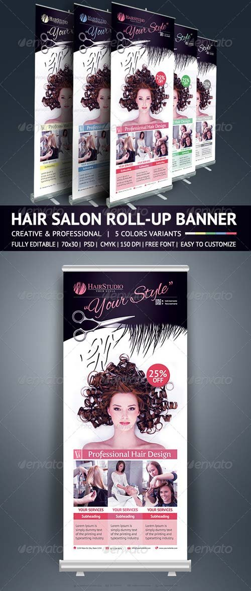 Signage Templates Graphicriver Hair Salon Roll Up Banner Graphicflux