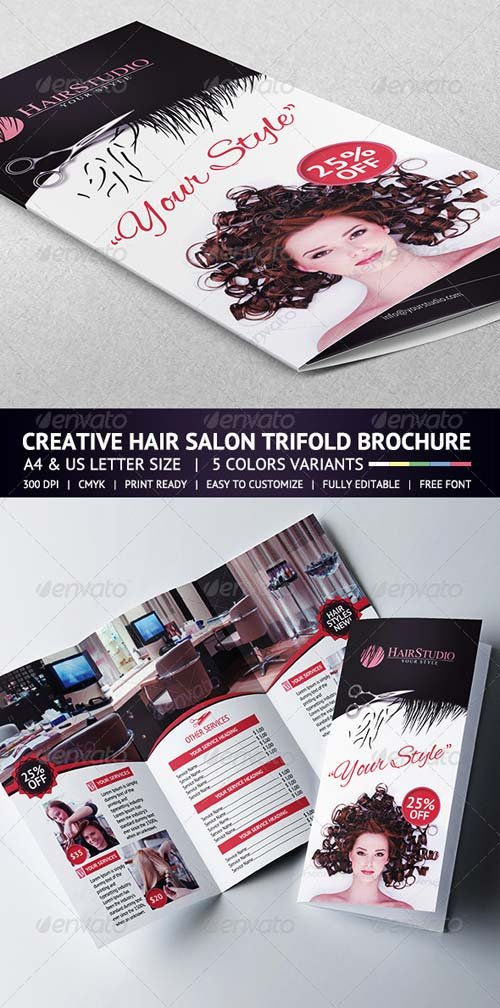 GraphicRiver Hair Salon Trifold Brochure