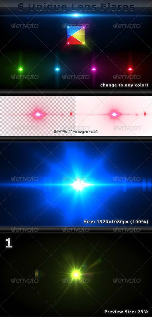 GraphicRiver 6 Unique Lens Flares - Light Effects -6-