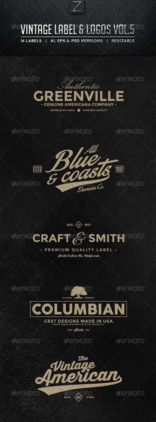 GraphicRiver Vintage Labels & Logos Vol.5