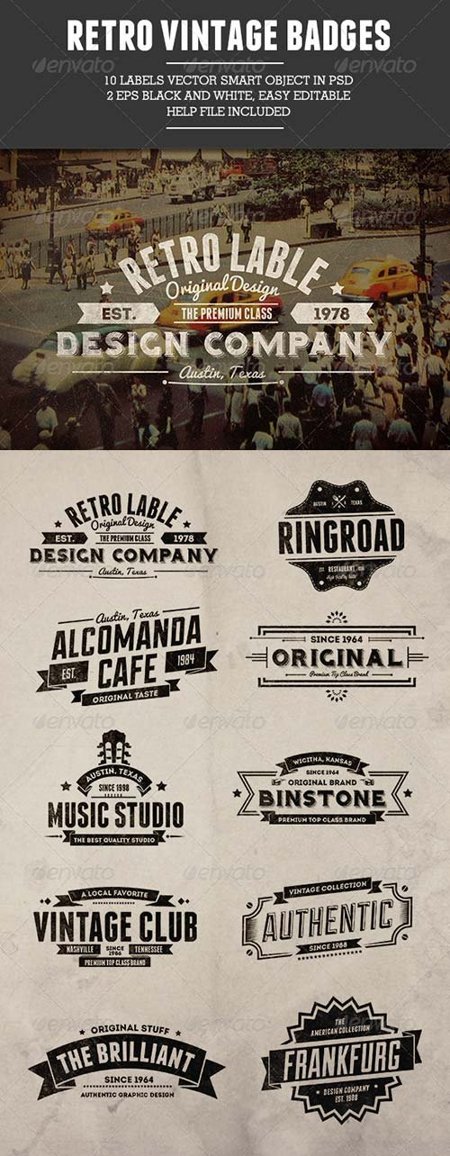GraphicRiver 10 Retro Vintage Badges