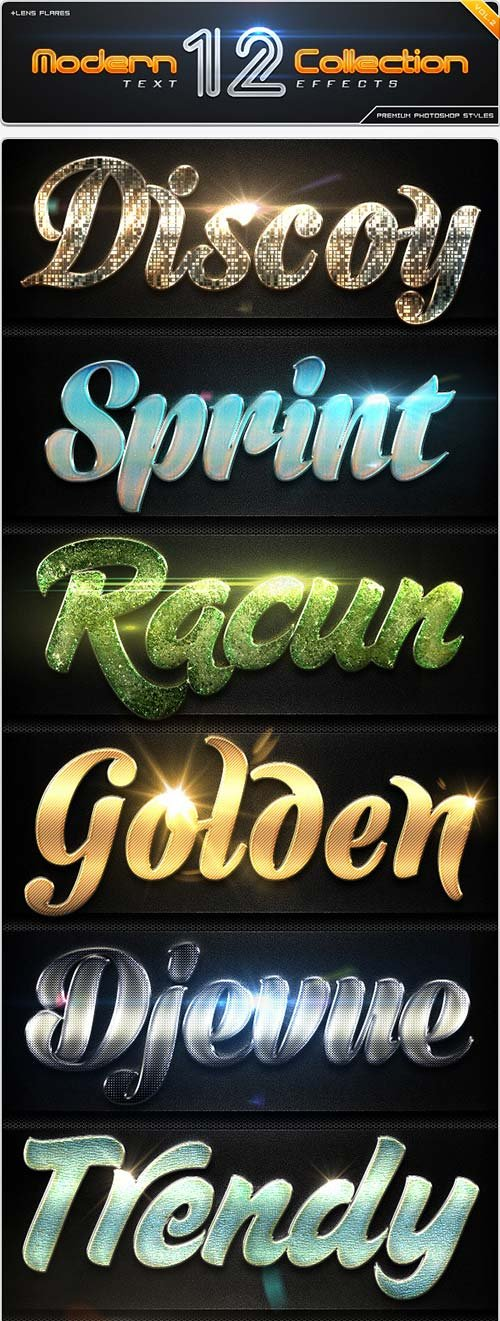 GraphicRiver 12 Modern Collection Text Effect Styles Vol.2