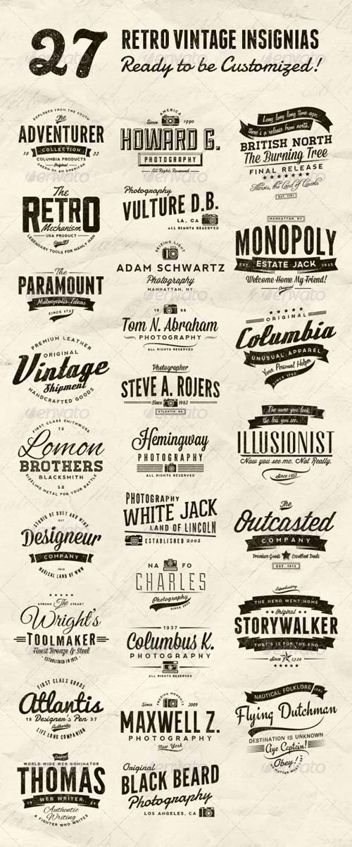 GraphicRiver 27 Retro Vintage Insignias Bundle Volume 1