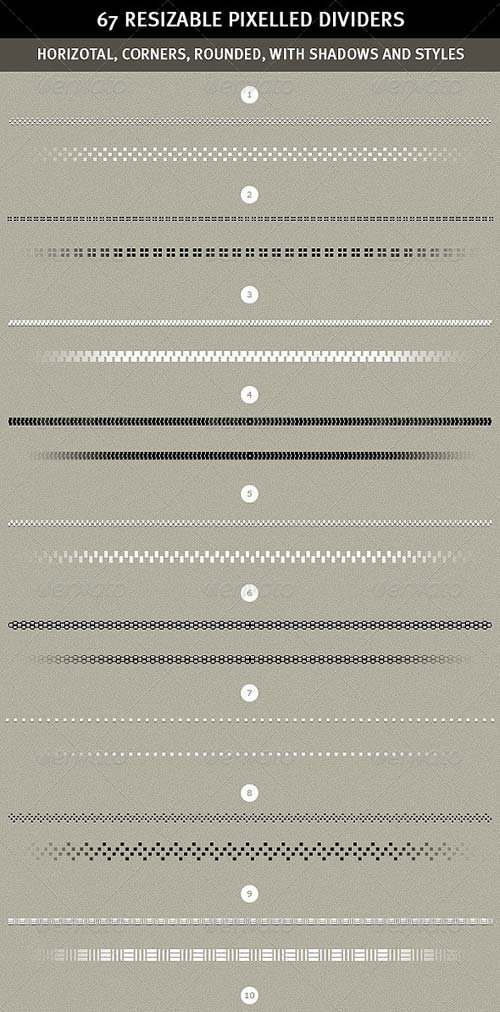 GraphicRiver 67 Pixelled Resizable Dividers