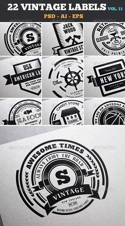GraphicRiver 22 Vintage Labels & Badges / Logos / Insignias V11