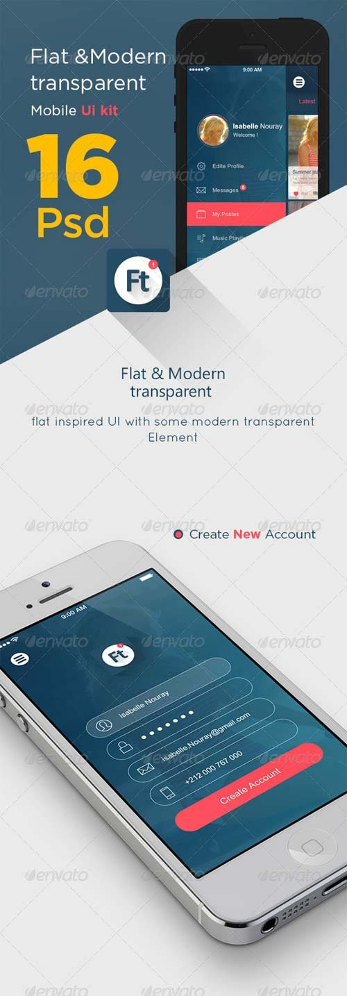 GraphicRiver Flat Modern Transparent App Ui kit