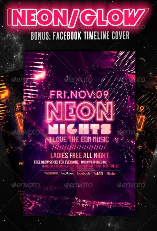 GraphicRiver Neon Nights / Glow | Flyer + Facebook Cover