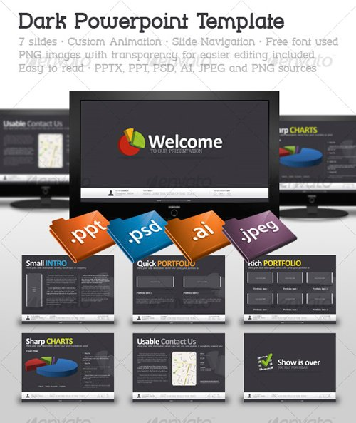 GraphicRiver Dark Powerpoint Template