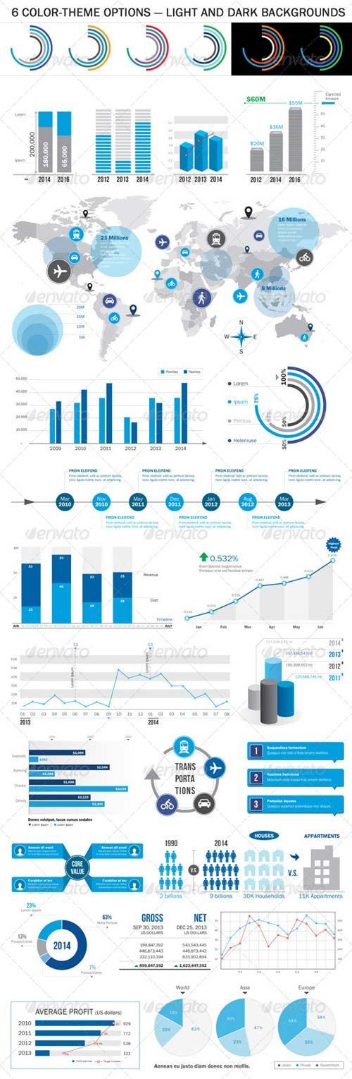 GraphicRiver Business Infographic Elements - 6 Color Themes