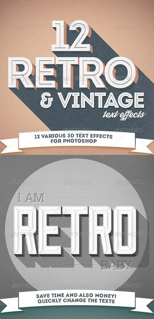 GraphicRiver 12 Various 3D Retro & Vintage Text Effects Pack