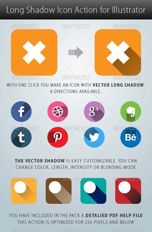 GraphicRiver Long Shadow Icon Action for Illustrator