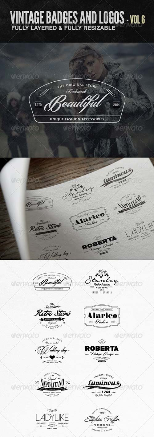 GraphicRiver Vintage Badges and Logos Vol 6