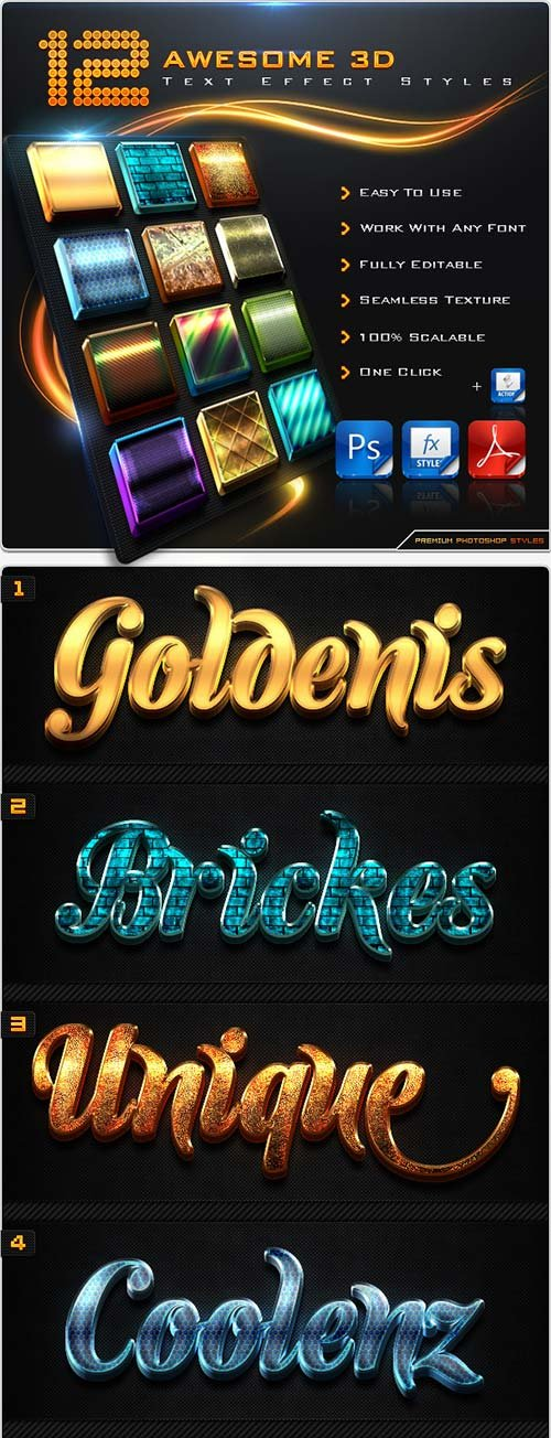 GraphicRiver 12 Awesome 3D Text Effect Styles + Actions