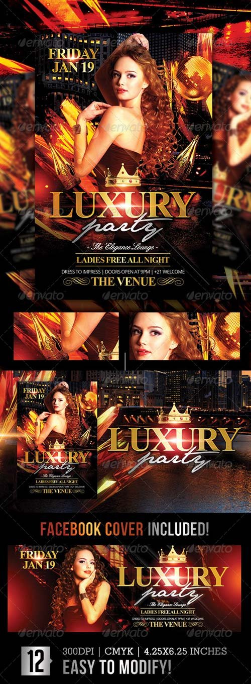 GraphicRiver Luxury Nights | Flyer + Facebook Cover