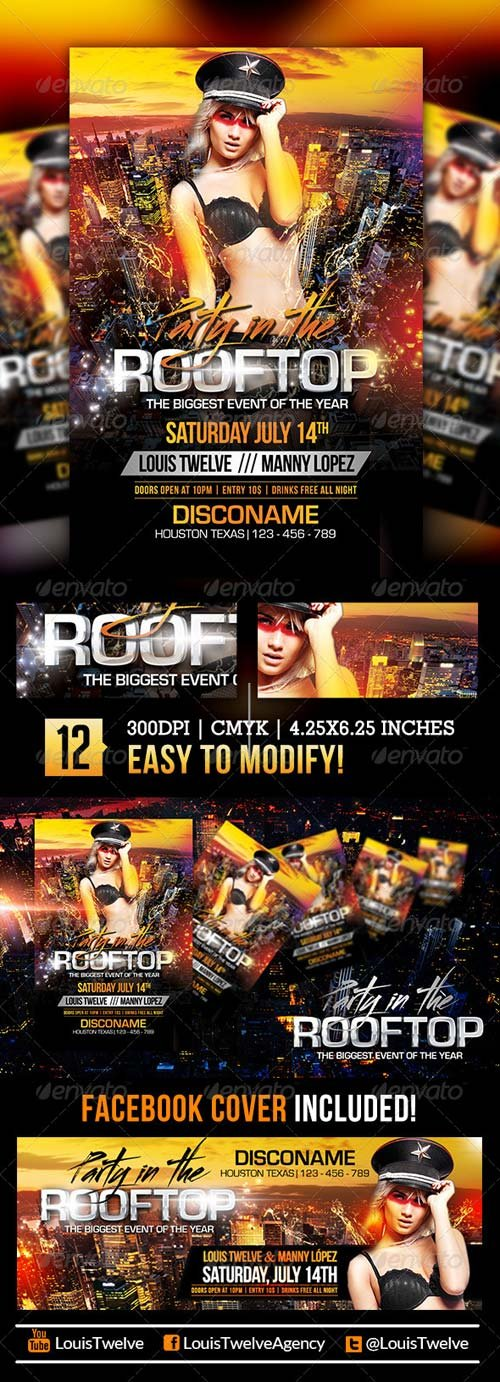 GraphicRiver Party in the Rooftop | Flyer + Facebook Cover