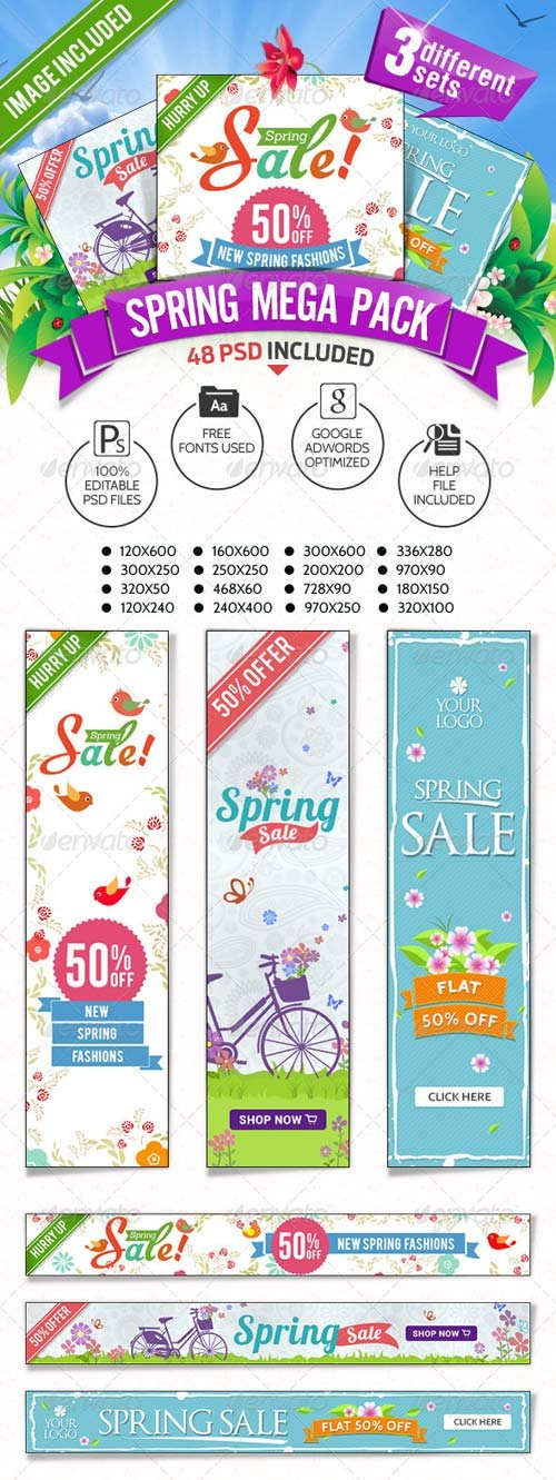 GraphicRiver Spring Sale Mega Pack - 3 Banner Sets