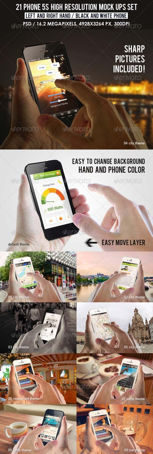 GraphicRiver 21 Phone 5s high resolution Mock Ups Set