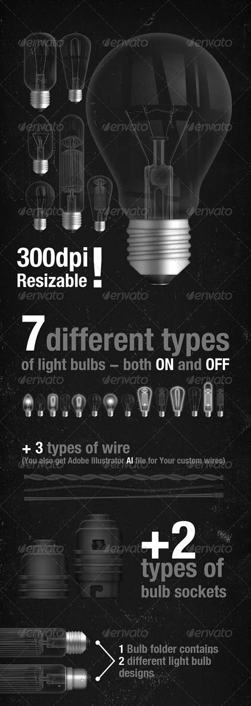GraphicRiver 7 realistic light bulb designs