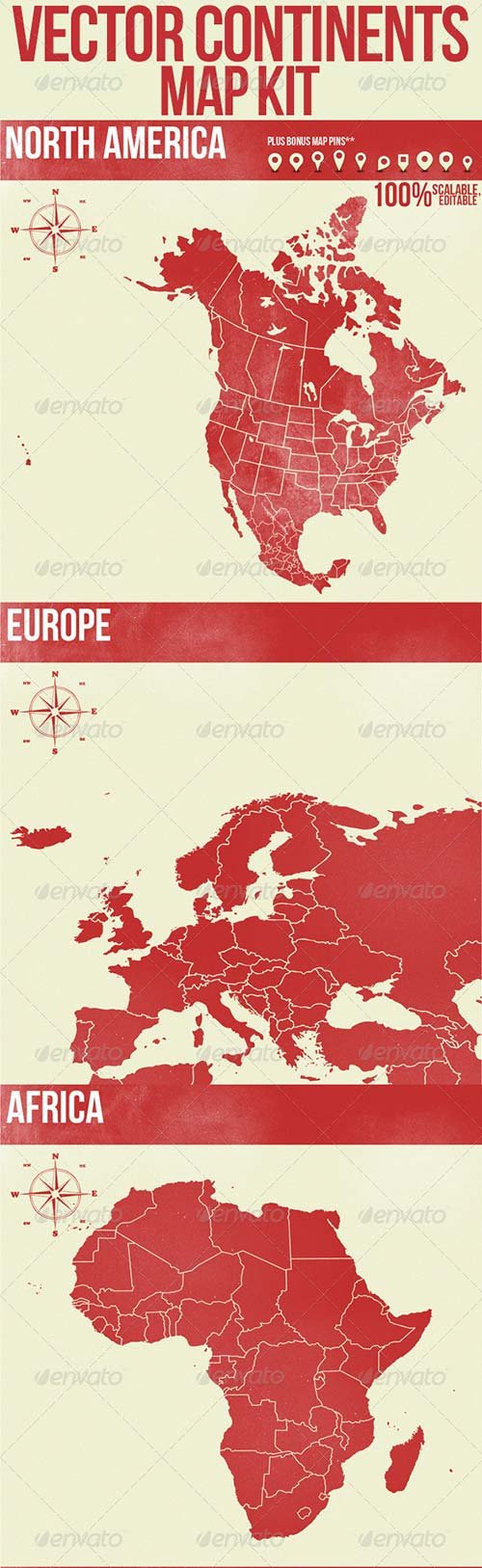 GraphicRiver Vector Continents Map Kit