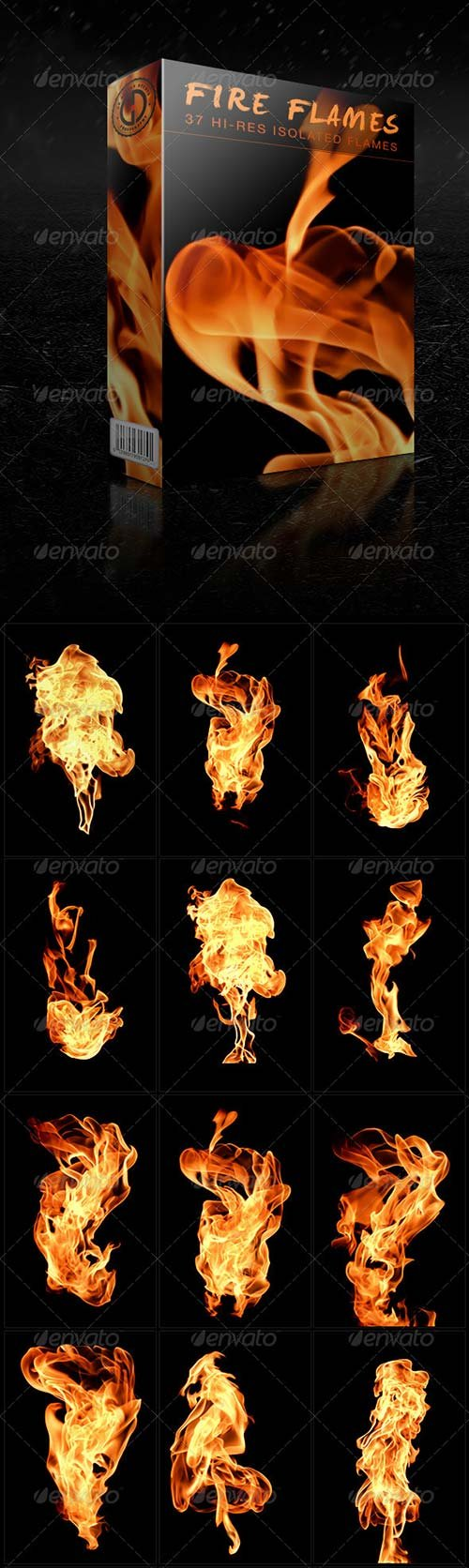 GraphicRiver Isolated Fire Flames