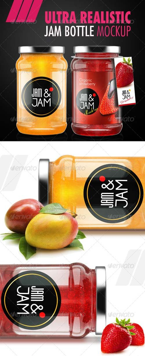 GraphicRiver Realistic Jam Bottle Mock-ups