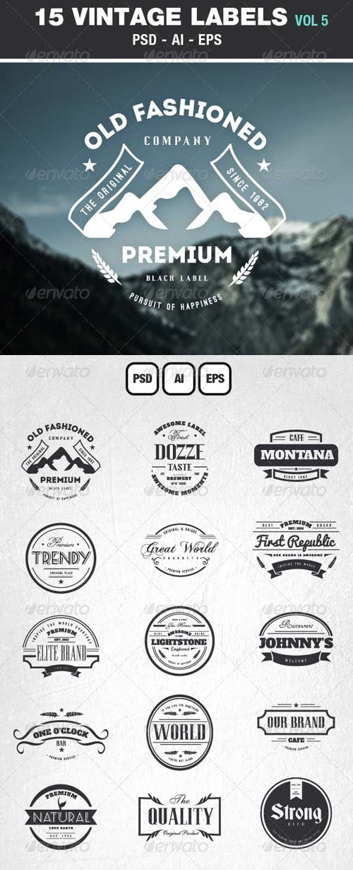 GraphicRiver Retro Vintage Labels & Badges Logos V5