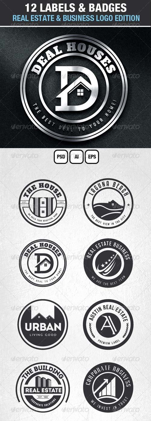 GraphicRiver 12 Real Estate & Business Labels & Badges Logos