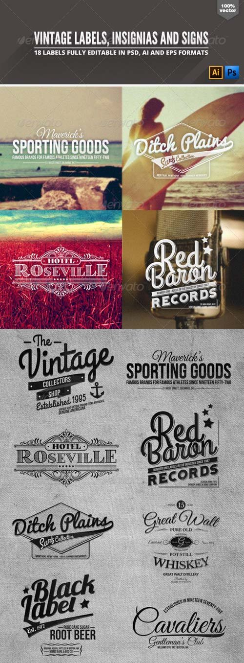 GraphicRiver Vintage Badges Labels & Signs